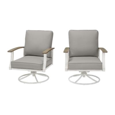 Marina Point White Steel Outdoor Patio Swivel Lounge Chair with CushionGuard Stone Gray Cushions (2-Pack)