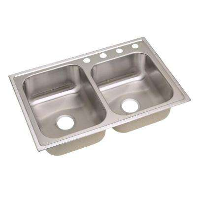 Signature Drop-In Stainless Steel 33 in. 4-Hole Double Bowl Kitchen Sink