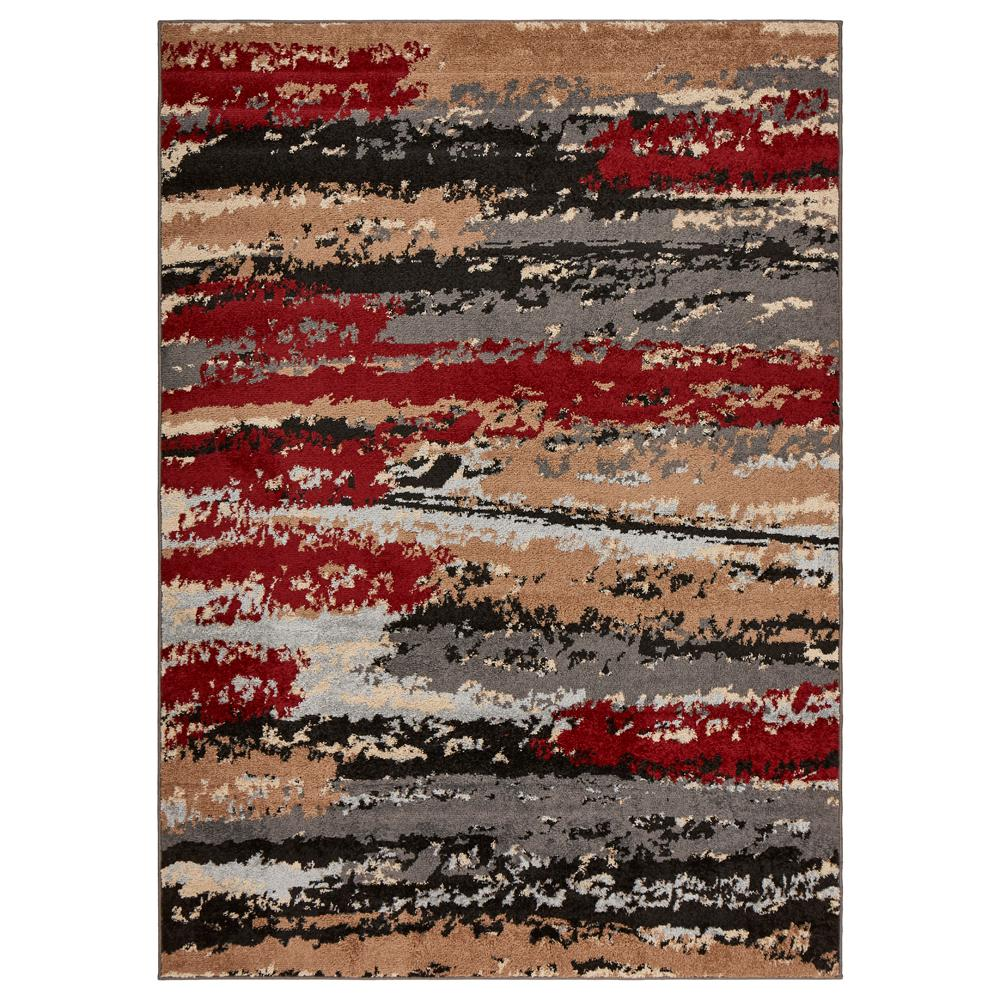Infinity Anthracite / Burgundy 7 ft. 9 in. x 9 ft. 5 in. Indoor Area Rug, Anthra/Red