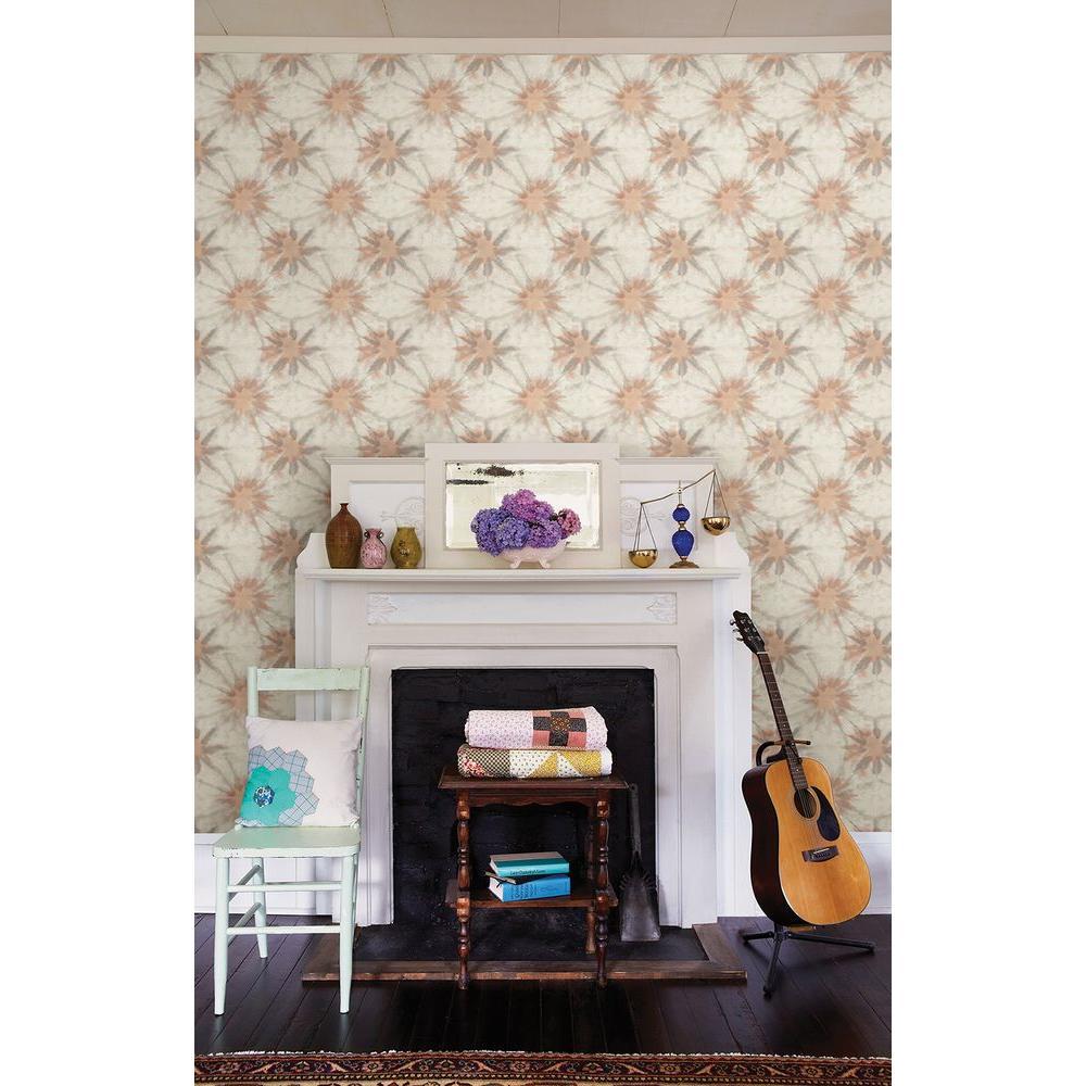 Iris Coral Shibori Wallpaper Sample