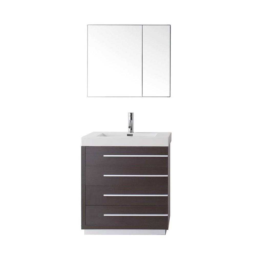 Virtu USA Bailey 30 in. W Bath Vanity in Wenge with Polymarble Vanity Top in White with Square Basin and Mirror and Faucet