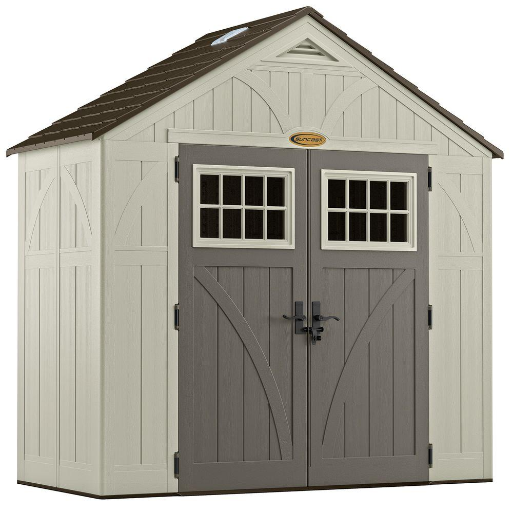 Suncast tremont 4 ft 3 4 in x 8 ft 4 1 2 in resin for 2 storage house