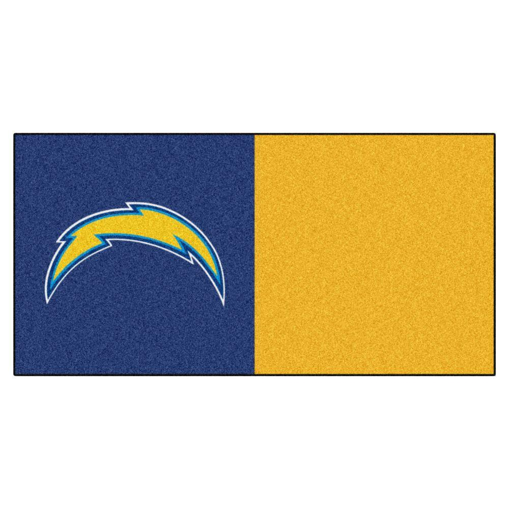 FANMATS NFL - San Diego Chargers Navy Blue and Gold Nylon 18 in. x 18 in. Carpet Tile (20 Tiles/Case)