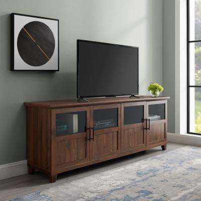 Dark Walnut TV Stand with Glass and Wood Panel Doors For TV's Up to 78 in.