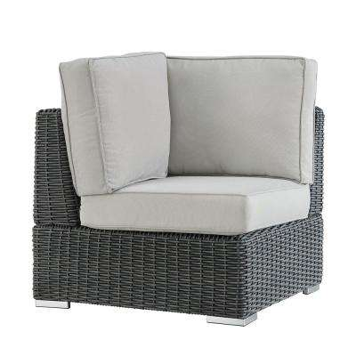 Camari Charcoal Wicker Corner Outdoor Sectional Chair with Beige Cushion
