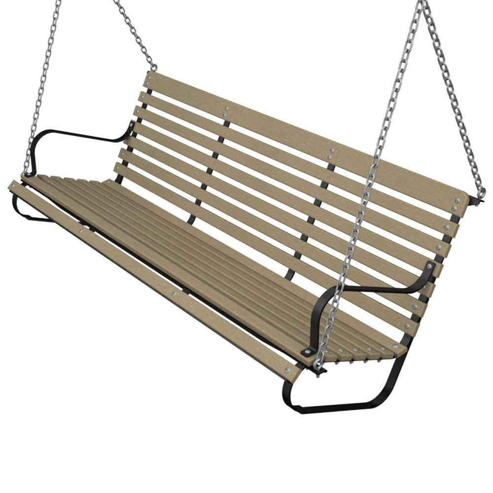 60 in. Black and Sand Patio Swing