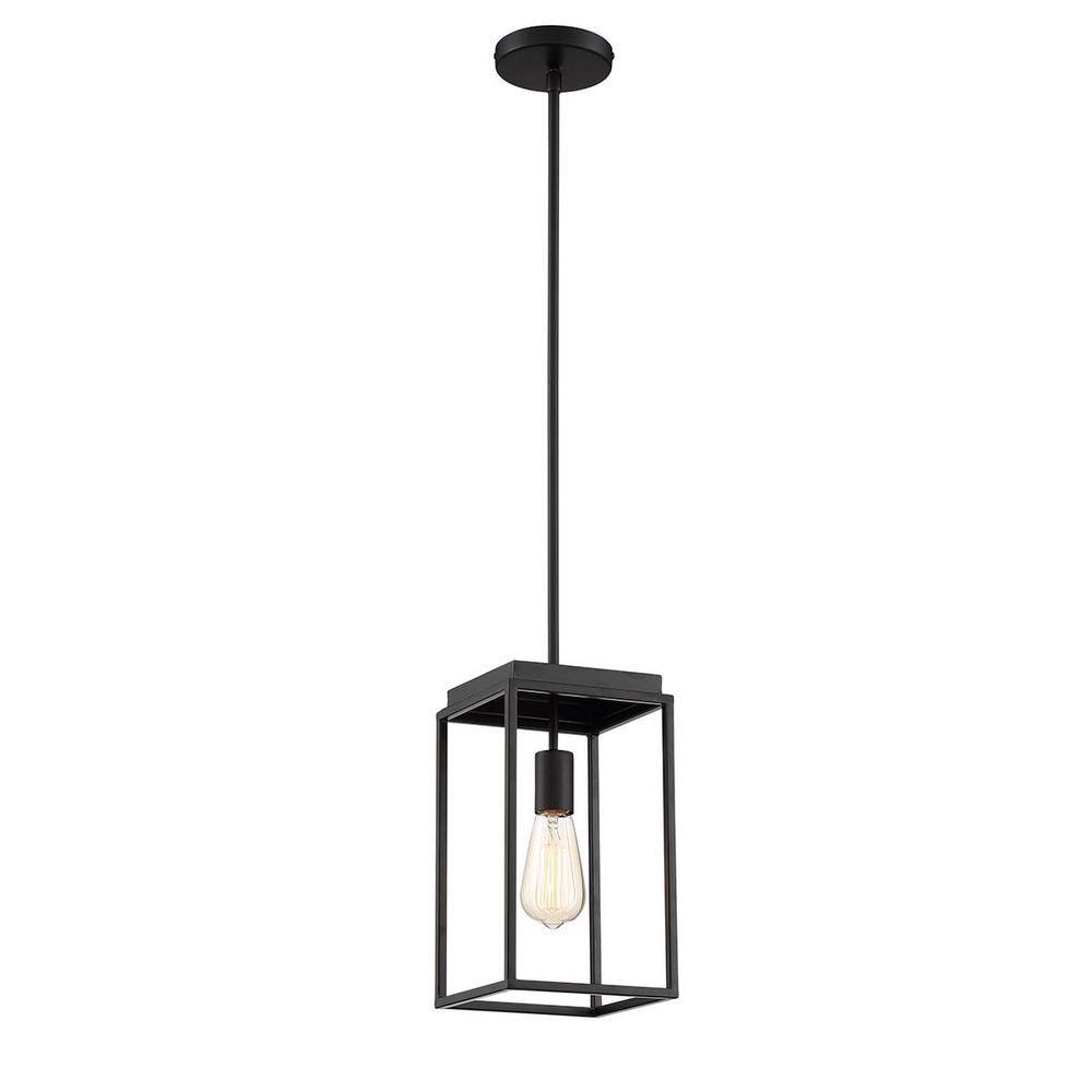 Home Decorators Collection Rollins 1-Light Black Mini Pendant