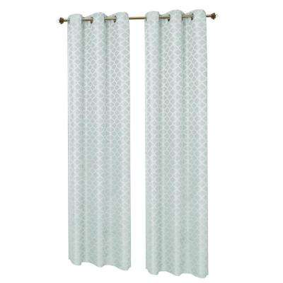 Semi-Opaque Seafoam Sonata Woven Lattice Jacquard 76 in. x 84 in. Grommet Polyester Curtain Panel Pair (2-Pack)