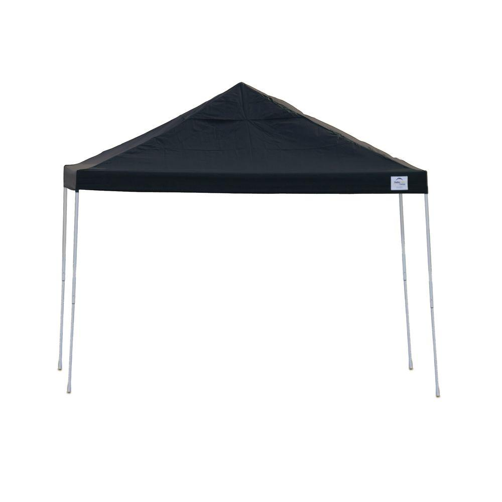 new style 720b2 fe75c ShelterLogic 12 ft. W x 12 ft. D Pro Series Straight-Leg Pop-Up Canopy in  Black w/ 4-Position-Adjustable Steel Frame and Storage Bag