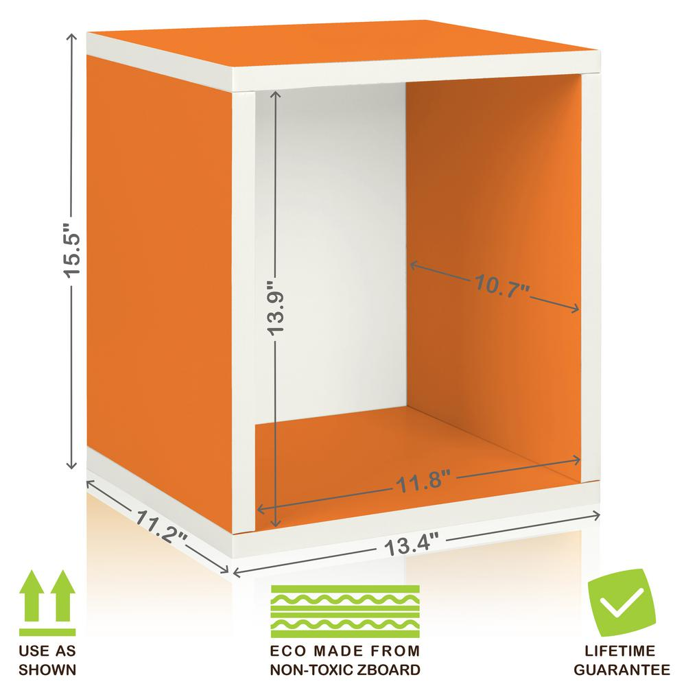 Way Basics Eco Stackable zBoard 11.2 x 13.4 x 12.8 Tool-Free Assembly Tall Storage Cube Unit Organizer in Orange