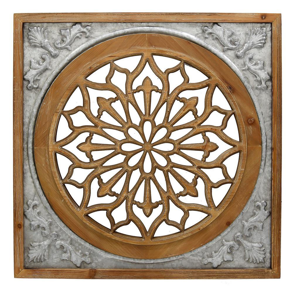 Decoration iron wall decor flower bunch. THREE HANDS Brown Metal/Wood Wall Decor-66749 - The Home Depot