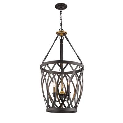 16 in. 3-Light Tuscan Bronze Taper Candle Pendant