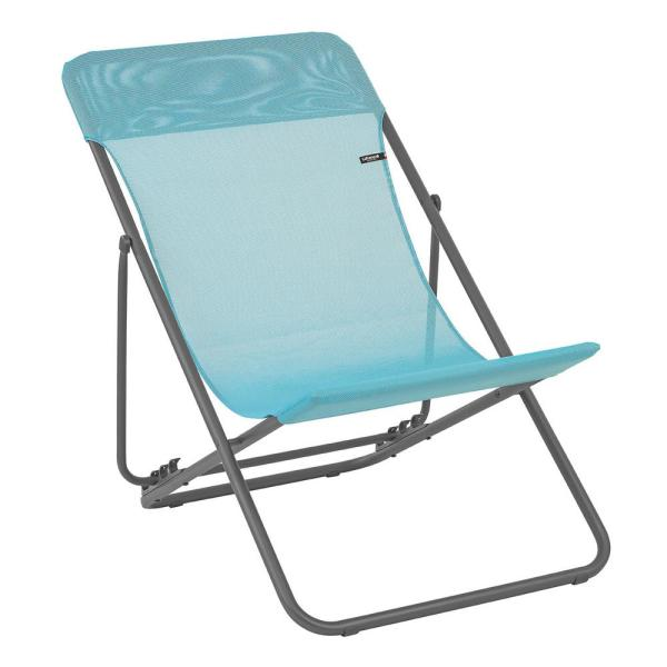 Maxi Transat Lac Turquoise Steel Folding French Style Lawn Chair (2-Pack)