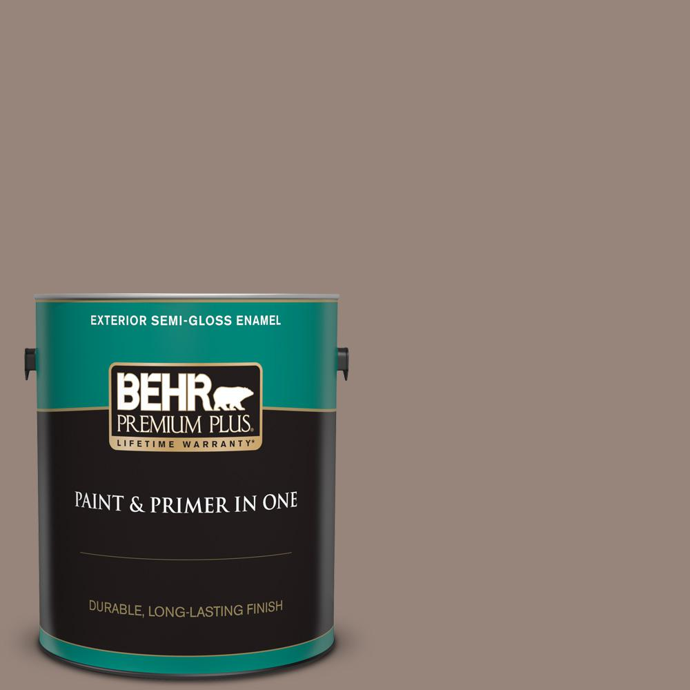Behr Premium Plus 1 Gal Pmd 52 Flower Wood Semi Gloss Enamel Exterior Paint And Primer In One 540001 The Home Depot