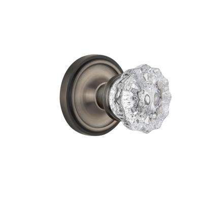 Classic Rosette 2-3/8 in. Backset Antique Pewter Privacy Bed/Bath Crystal Glass Door Knob