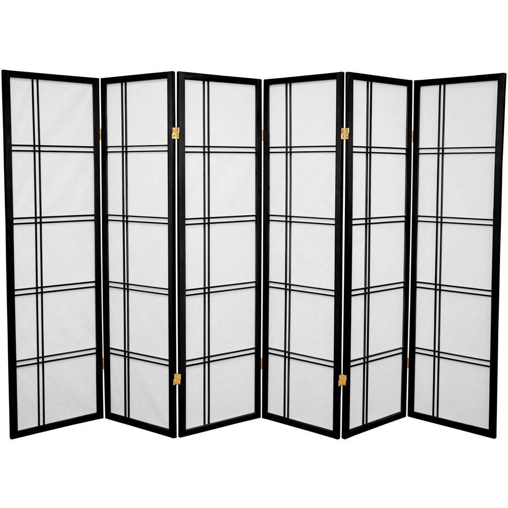 5 ft Black 6 Panel Room Divider DC60 BLK 6P The Home Depot