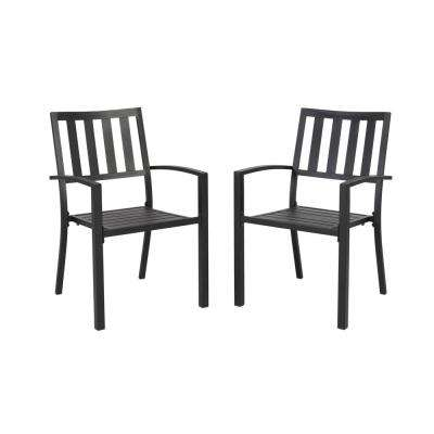 Mix and Match Black Stackable Metal Slat Outdoor Dining Chair (2-Pack)