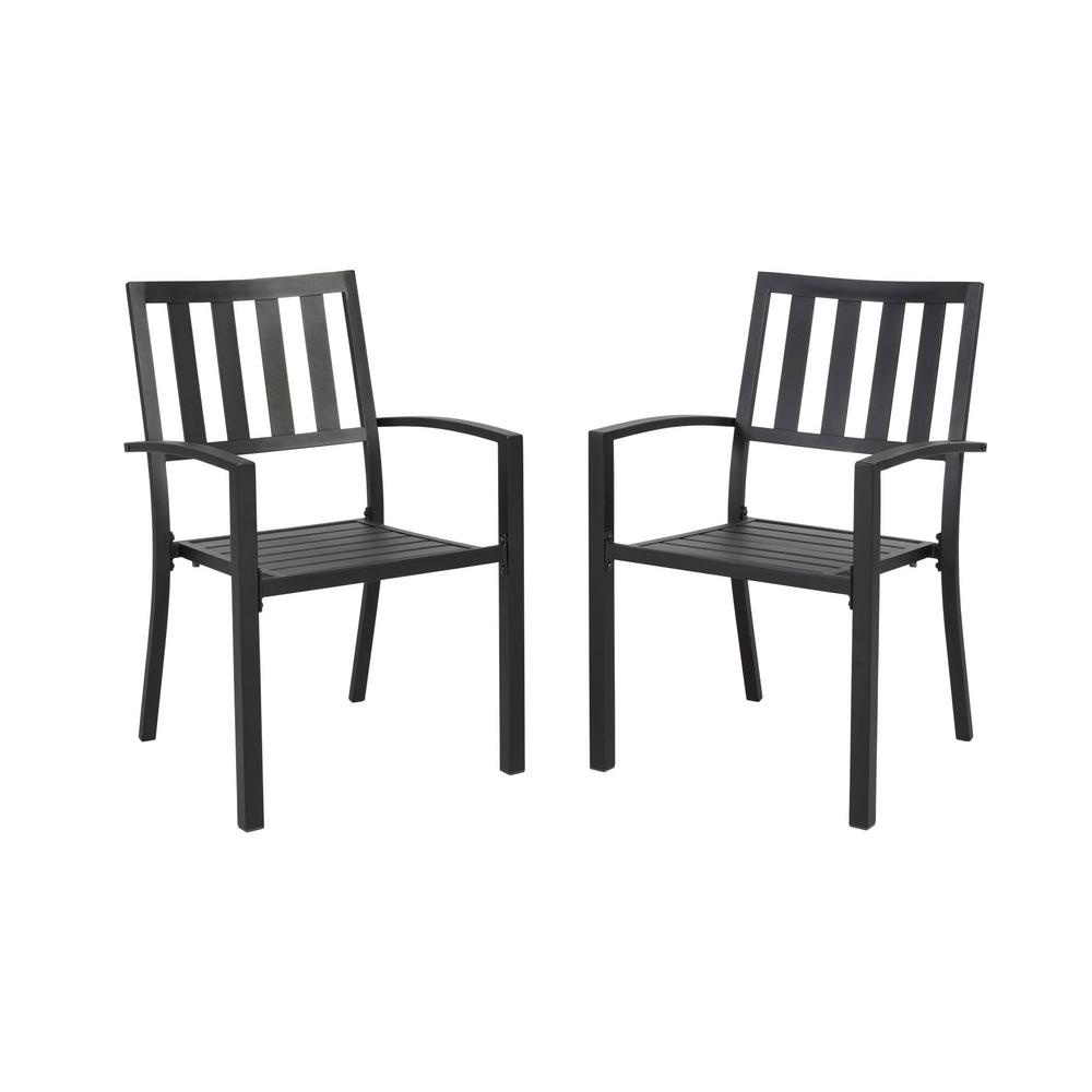 Stylewell Mix And Match Black Stackable Metal Slat Outdoor Patio Dining Chair 2 Pack Fss60508i2pkblk The Home Depot