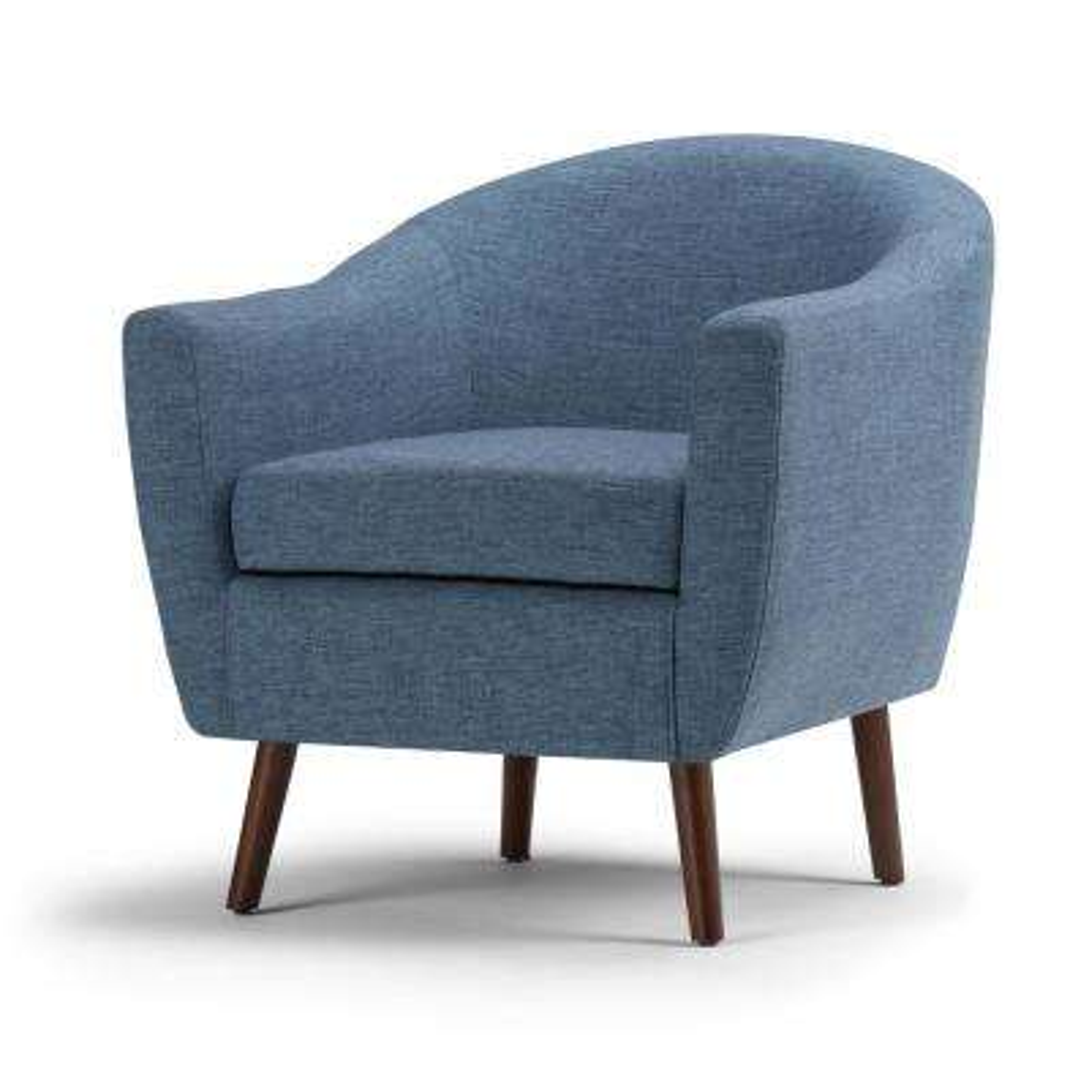 Roundstone Denim Blue Fabric Arm Chair