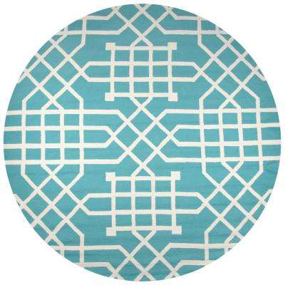 Azzura Hill Teal Geometric 8 ft. x 8 ft. Round Outdoor Area Rug