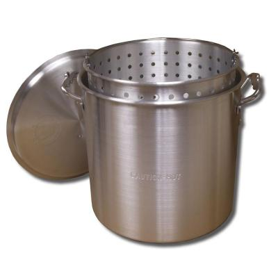 32 qt. Aluminum Stock Pot in Silver with Lid