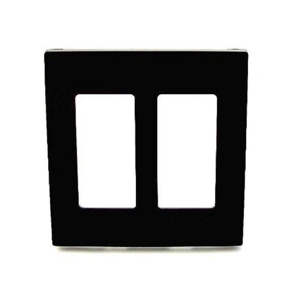 Decora 2-Gang Screwless Wallplate, Black