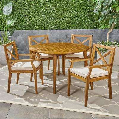 Pines Teak Brown 5-Piece Wood Outdoor Dining Set with Cream Cushions