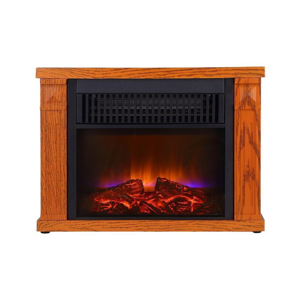 1200-Watt Reddish Color Mini Fireplace with Wood Cabinet