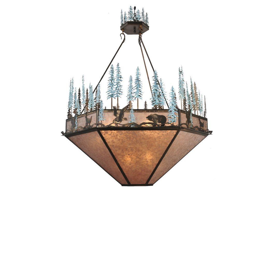 Illumine 9 Light Wildlife at Pine Inverted Pendant Antique Copper Finish Mica
