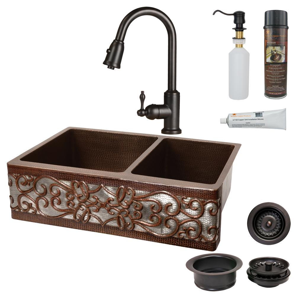 Premier Copper Products All-in-One Copper 33 in. 60/40 Double Bowl on double bowl apron sinks, 25 apron front sinks, apron front farm sinks, copper farm sinks with apron, lowe's apron front sinks,