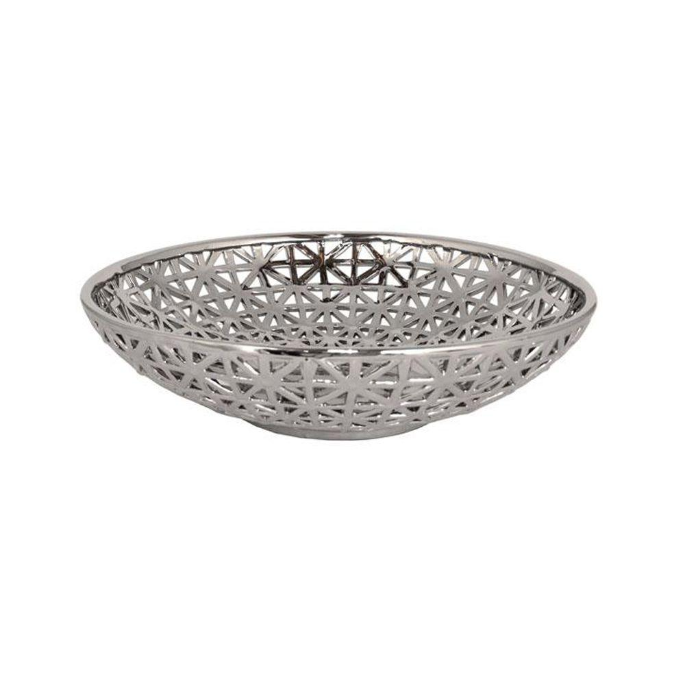 Home Decorators Collection 18.5 in. W Plated Silver Ceramic Pierced Bowl