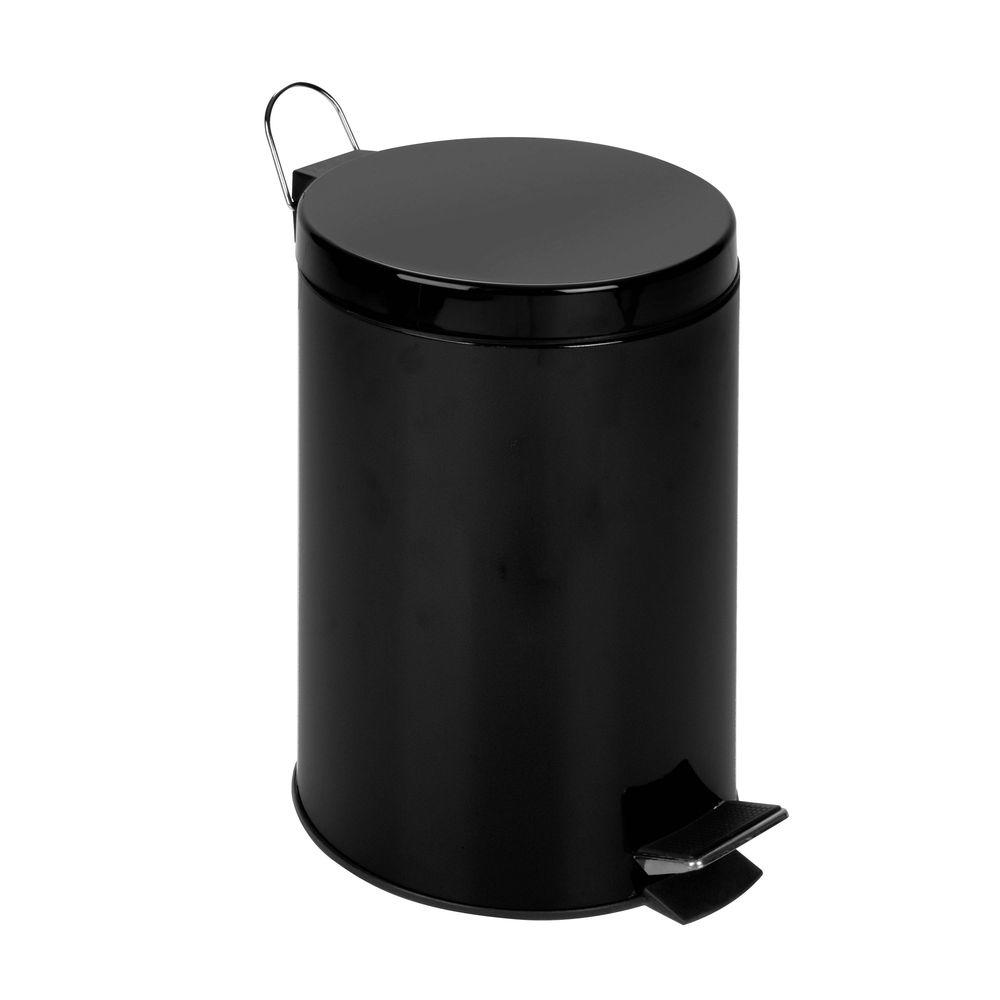Honey-Can-Do 3 Gal. Matte Black Round Metal Step-On Touchless Trash Can