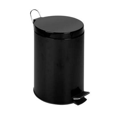 3 Gal. Matte Black Round Metal Step-On Touchless Trash Can