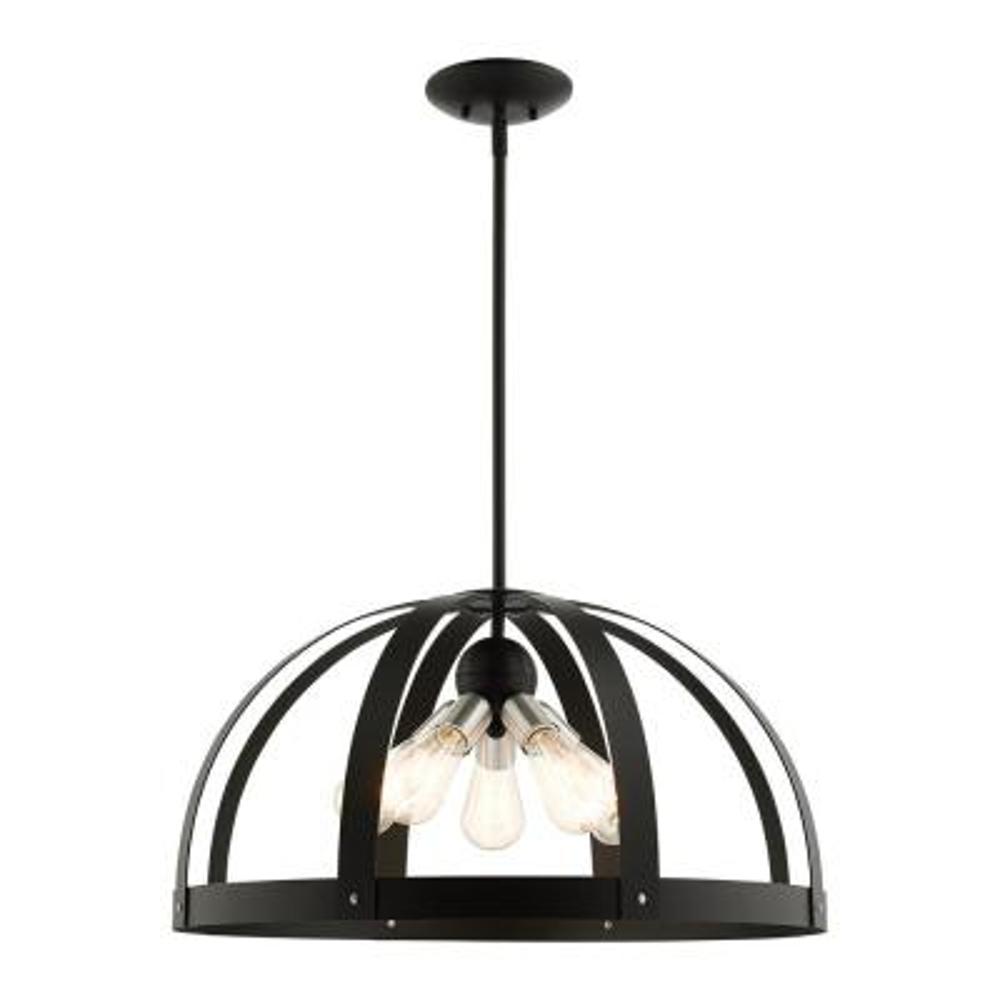 Stoneridge 5 Light Textured Black Pendant Chandelier