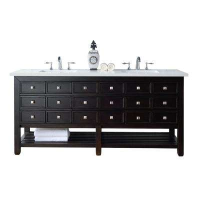 Vancouver 72 in. W Double Vanity in Espresso Oak with Quartz Vanity Top in White with White Basin