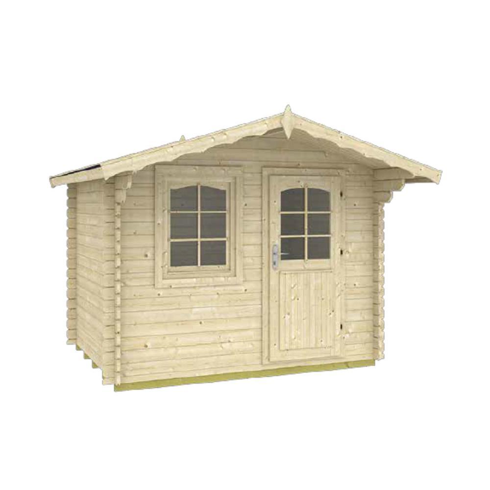 Trondheim 7 ft. 1/4 in. x 9 ft. 1/2 in. x 8 ft. Log Garden House Hobby Workshop Office Storage Building