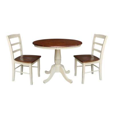 Almond and Espresso Solid Wood 36 in Table and 2-Madrid Side Chairs (3-Piece Set)