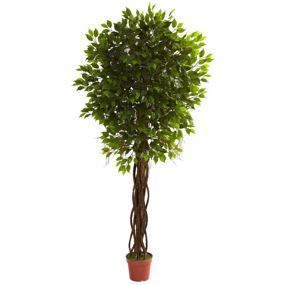 Nearly Natural 7.5 ft. UV Resistant Indoor/Outdoor Ficus Tree-5379 - The Home Depot