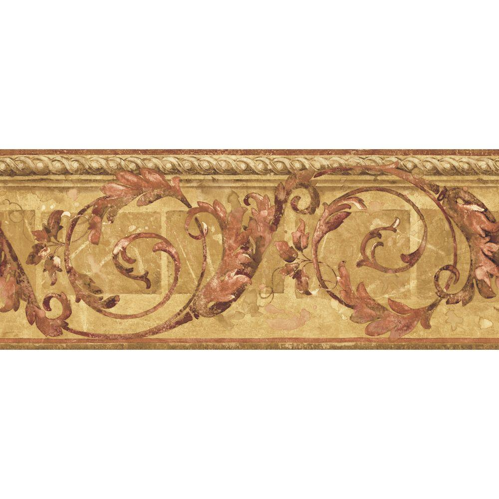 The Wallpaper Company 8 in. x 10 in. Mid-Tone Traditional Scroll Border Sample-DISCONTINUED