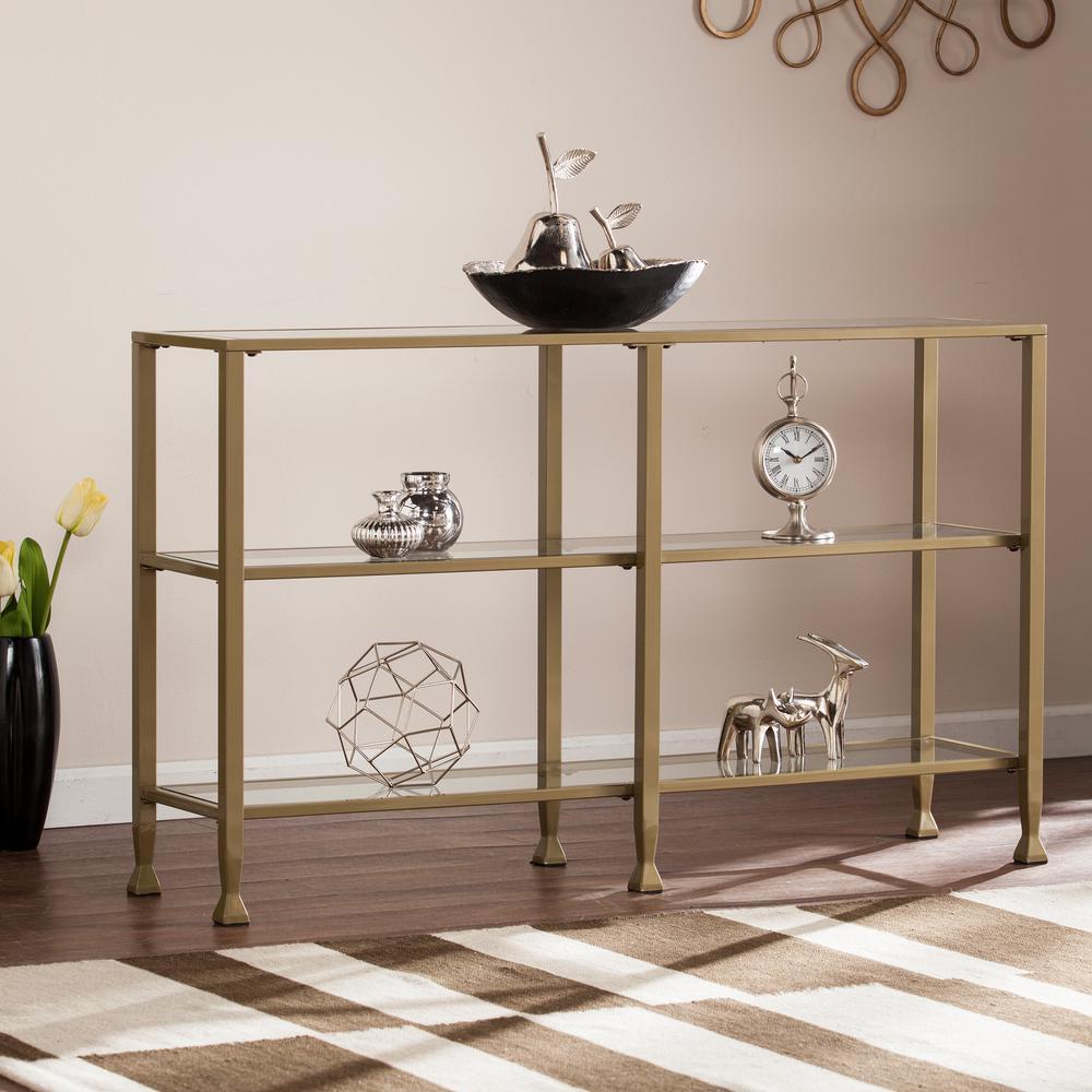 Galena Matte Khaki Metal/Glass 3-Tier Media Stand/Console Table