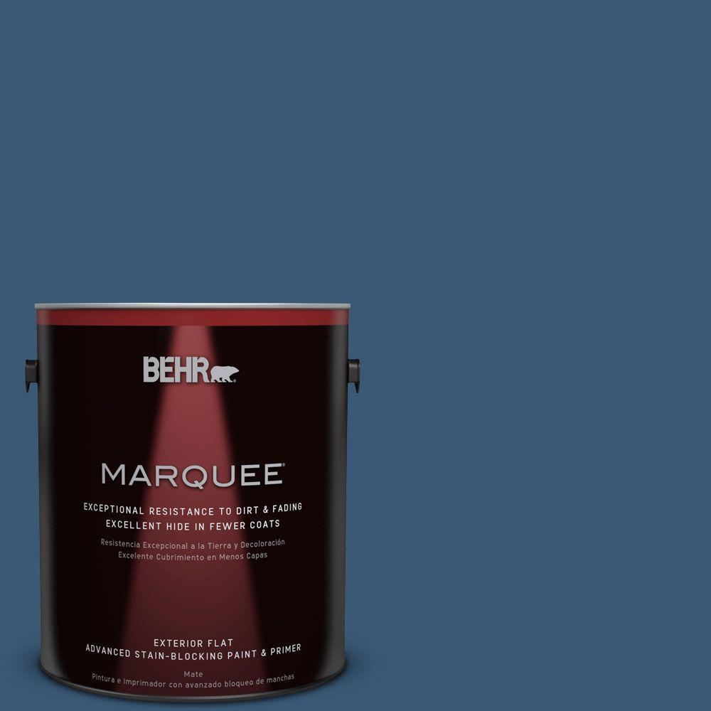 Behr Premium Plus 1 Gal M500 6 Express Blue Flat Exterior Paint 430001 The Home Depot