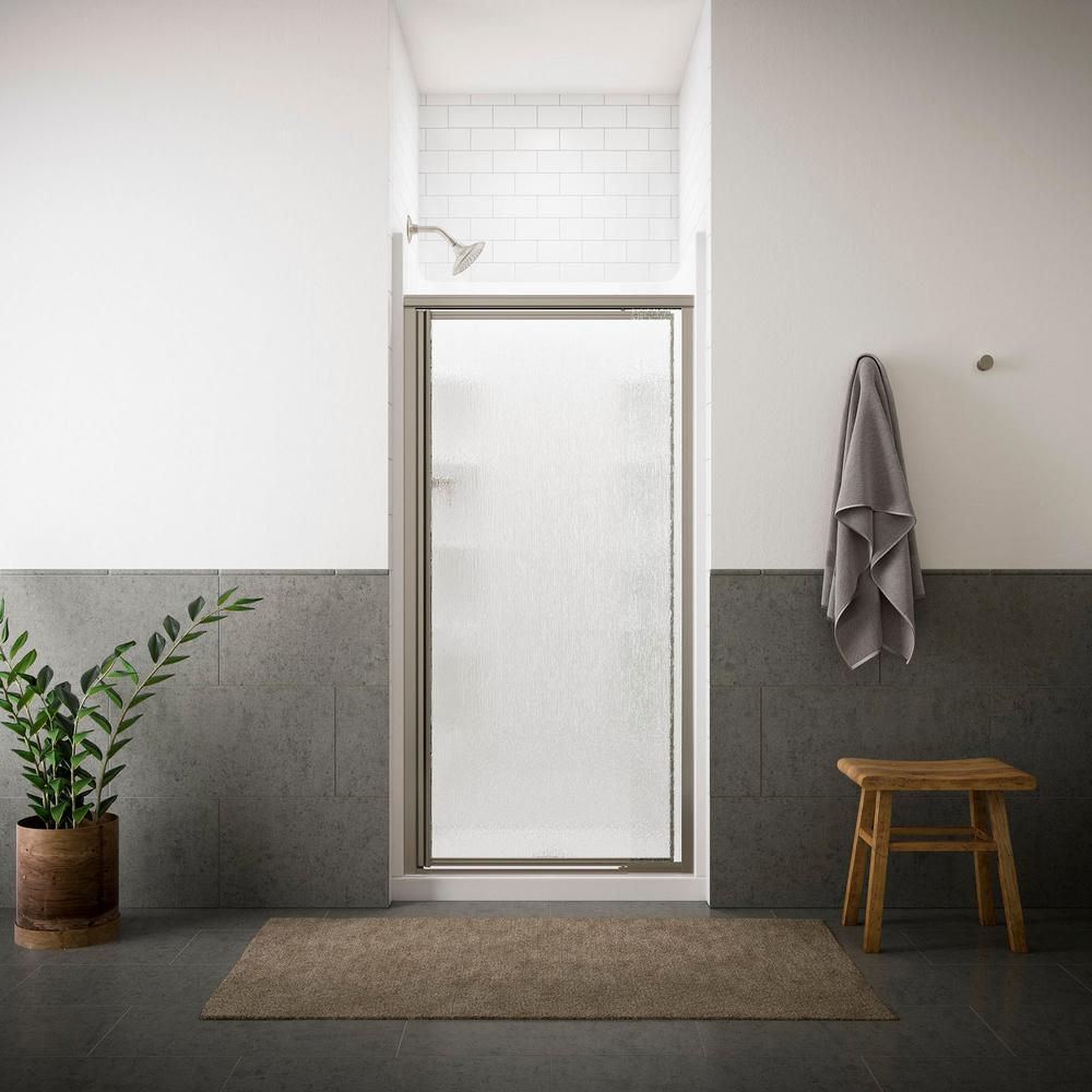 sterling vista pivot ll in x in framed pivot shower door in nickel with tangle glass the home depot