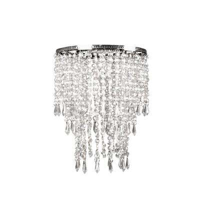 9 in. x 12 in. 1-Light Faux Crystal & Chrome Pendant Triple Layer Lamp Shade