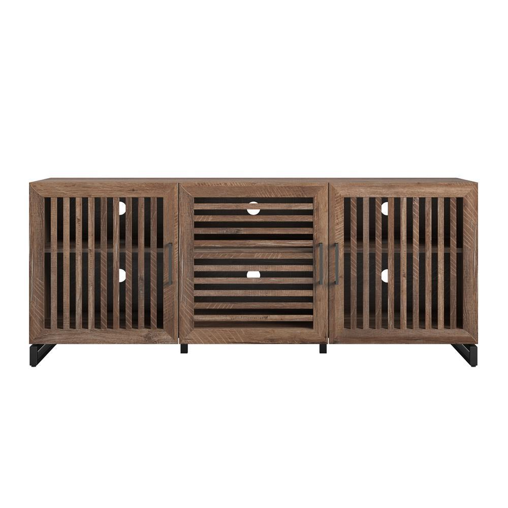 Sherman 60 in. Weathered Oak Particle Board TV Stand Fits TVs Up to 65 in. with Cable Management
