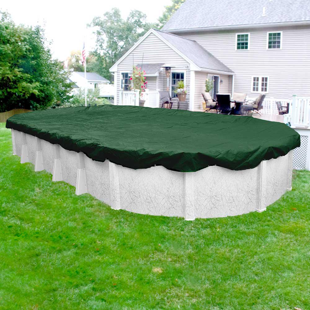 Supreme 18 ft. x 40 ft. Pool Size Oval Green Solid