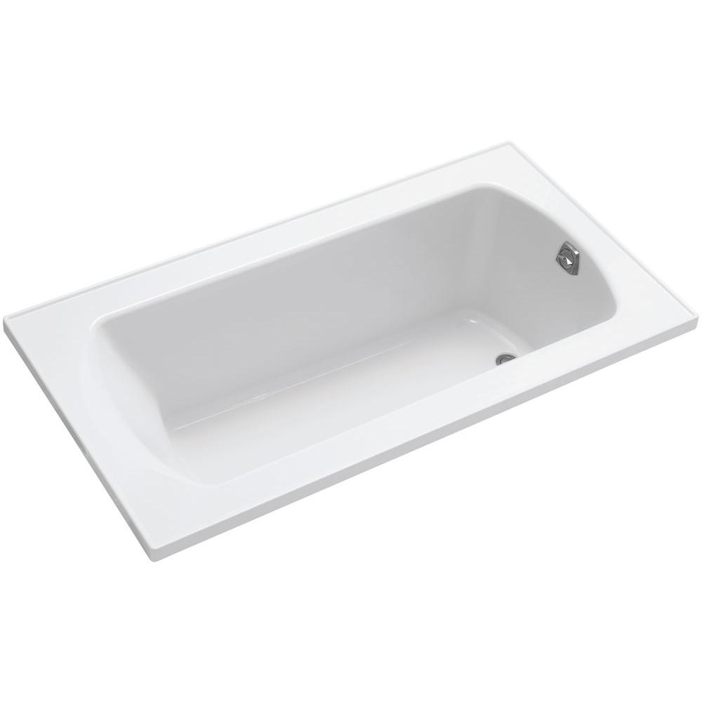 Rectangular Drop In Reversible Drain Decked Bathtub In White