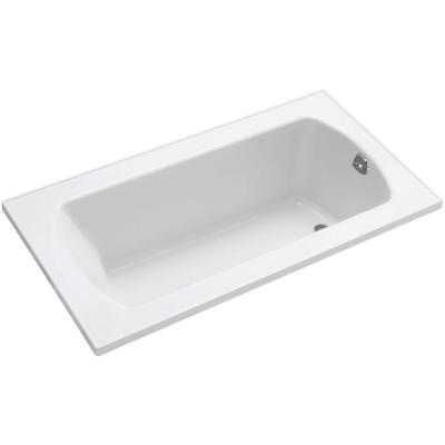 Lawson 5 ft. Rectangular Drop-in Reversible Drain Decked Bathtub in White