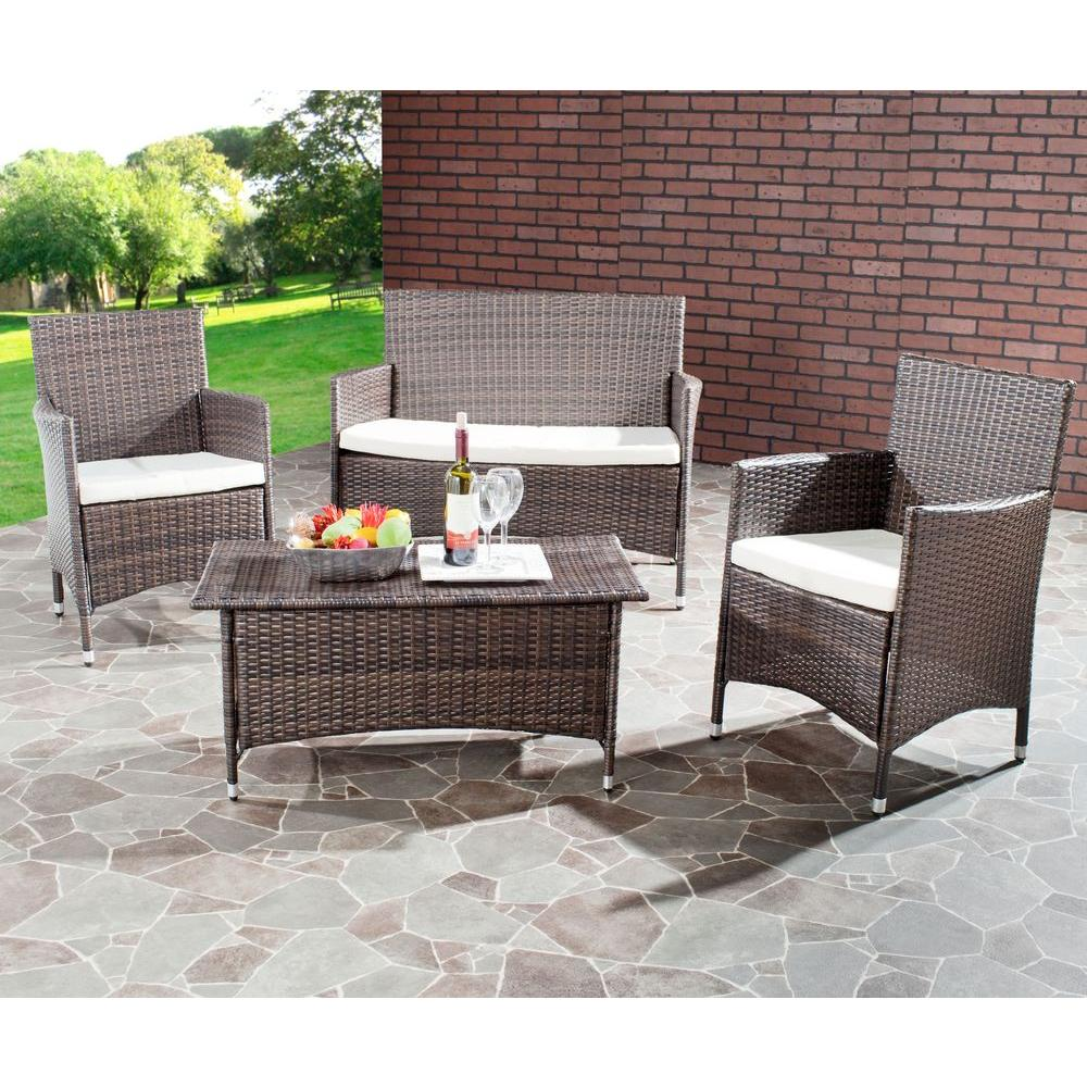 Safavieh Mojavi Brown 4 Piece Wicker Patio Seating Set With Beige