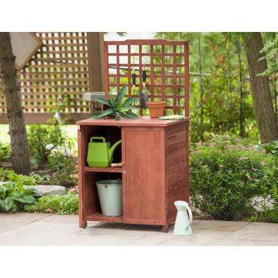 32 in. W x 61 in. H Medium Brown Wooden Potting Table with Storage