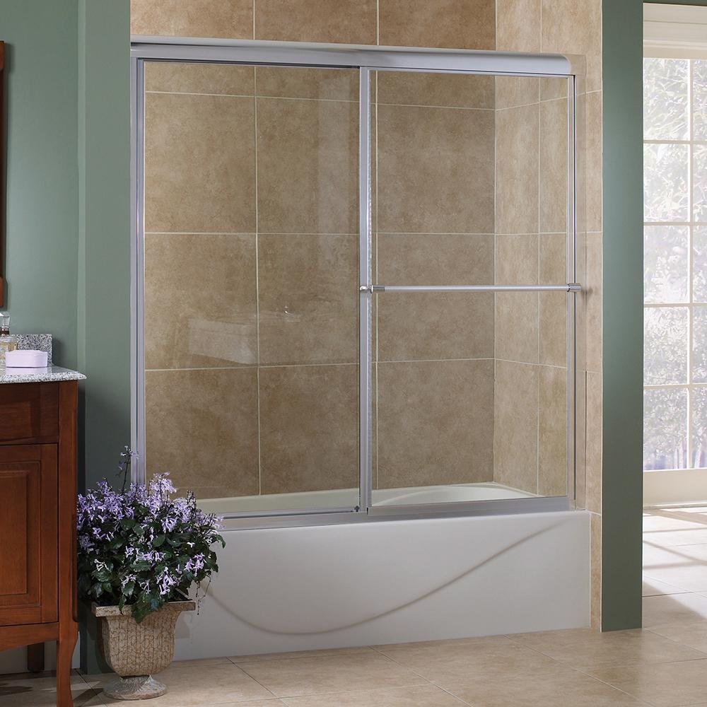 Foremost Tides 60 in. x 58 in. Framed Sliding Tub Door in Silver with Clear Glass